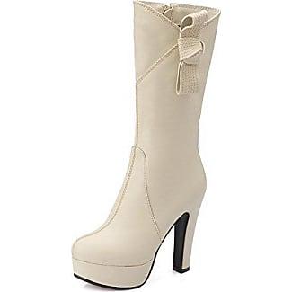 AllhqFashion Damen Hoher Absatz PU Eingelegt Knöchel Hohe Stiefel mit Metalldekoration, Braun, 42