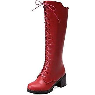AgooLar Damen Mittler Absatz Hoch-Spitze Rein Ziehen auf Stiefel mit Rivet Set, Schwarz, 35