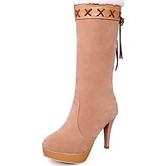 VogueZone009 Damen Ziehen auf Hoher Absatz Mitte-Spitze Stiefel mit Schleife, Aprikosen Farbe, 37