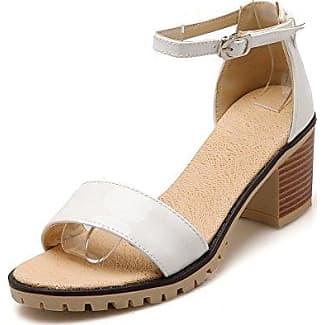 Damen Rein PU Leder Mittler Absatz Schnalle Fischkopf Schuhe Sandalen, Pink, 42 VogueZone009