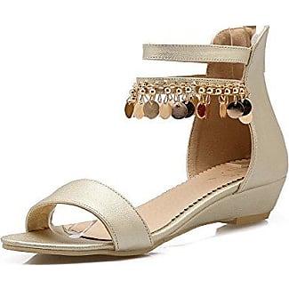 VogueZone009 Damen Reißverschluss Weiches Material Mittler Absatz Zehentrenner Sandalen, Blau, 34