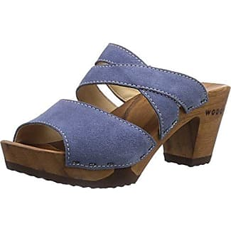 Samantha - zuecos de cuero mujer, color azul, talla 36 Woody
