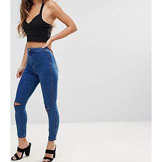 ASOS DESIGN - Petite - Rivington - Jeans-Jeggings mit hoher Taille in mittelblauer Waschung mit Sterndetail - Blau Asos Petite A1IDMxg