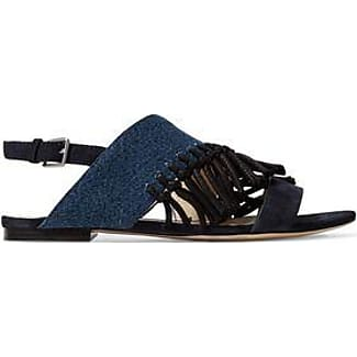 3.1 Phillip Lim Woman Two-tone Leather And Denim Point-toe Flats Mid Denim Size 37