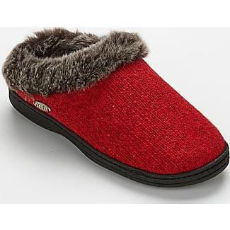 Acorn L Red Faux Chinchilla Clog Slippers