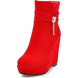 AgooLar Damen Hoher Absatz Eingelegt Beschlagene Strass Niedrig-Spitze Stiefel, Cremefarben, 34