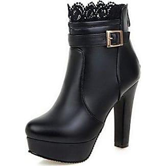 AgooLar Damen Hoher Absatz Niedrig-Spitze Eingelegt Reißverschluss Stiefel mit Lesbie, Schwarz, 38
