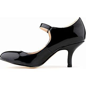 Aisun Damen Elegant Künstliche Perlen Pointed Toe Pumps Mit Knöchelriemchen Schwarz 35 EU