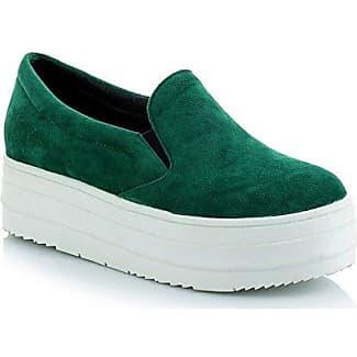 Aisun Damen Modisch Freizeit Flach Gummisohle Sneaker Grün 38 EU