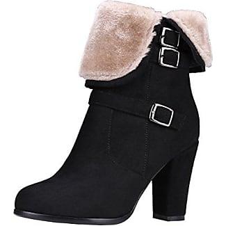AIYOUMEI Damen Blockabsatz Ankle Boots mit Reißverschluss High Heels Stiefeletten mit Schnalle