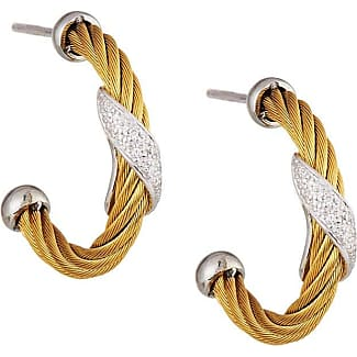 Alór Classique Pave Diamond Circle Drop Earrings, Yellow