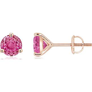 Angara Square Pink Sapphire Stud Earrings in 14K Rose Gold