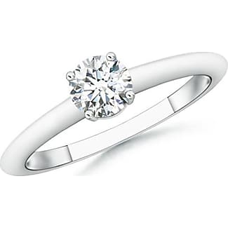 Angara Four Prong Round Diamond Solitaire Ring in Yellow Gold