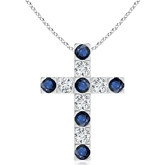 Angara Marquise and Round Blue Sapphire Cross Pendant in 14K White Gold