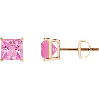 Angara Basket-Set Square Pink Sapphire Stud Earrings in 14K Rose Gold