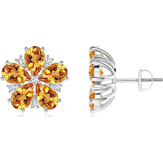 Angara Pear Aquamarine Diamond Flowerhead Cluster Earrings in 14k Yellow Gold