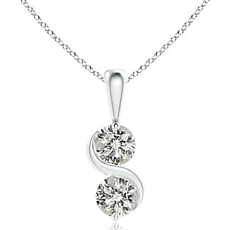Angara Classic Two Stone Diamond Swirl Pendant