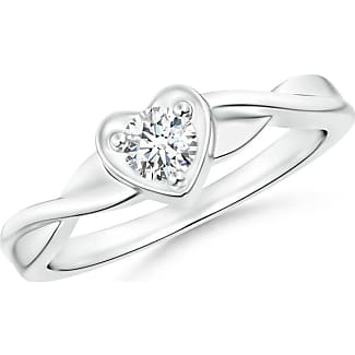 Angara Entwined Double Diamond Bypass Heart Promise Ring