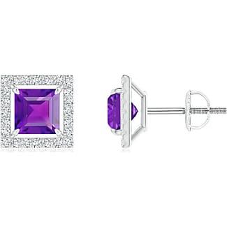 Angara Floating Square Amethyst and Diamond Halo Stud Earrings