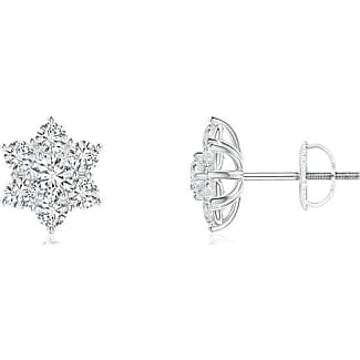 Angara Prong Set Brown Diamond Cluster Clover Earrings with Halo