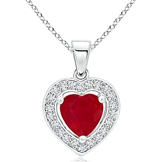 Angara Womens Natural Ruby Necklace in Platinum
