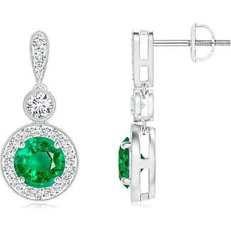 Angara Milgrain-Edged Emerald and Diamond Halo Dangle Earrings