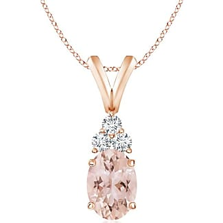 Angara V-Bail Round Morganite Solitaire Pendant in Rose Gold