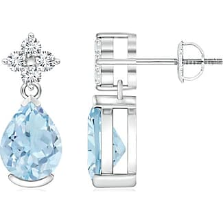 Angara Square and Pear Aquamarine Drop Earrings with Diamond