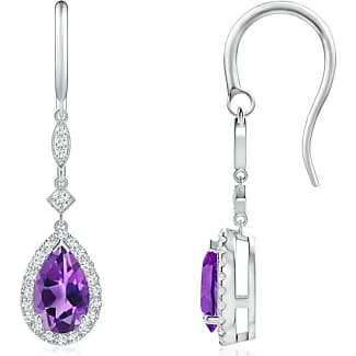 Angara Pear Drop Amethyst Diamond Halo Vintage Necklace in Platinum