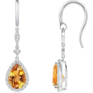 Angara Scattered Bezel Citrine Twin Circle Earrings