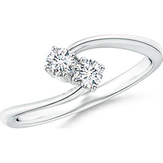 Angara Three Prong Set Twisted Two Stone Diamond Loop Earrings