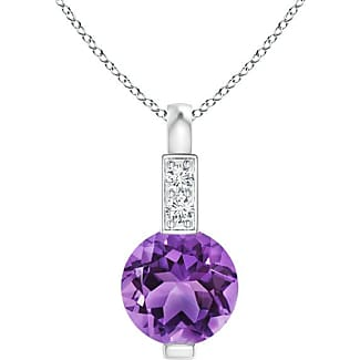 Angara Solitaire Round Amethyst Pendant with Diamond Bale
