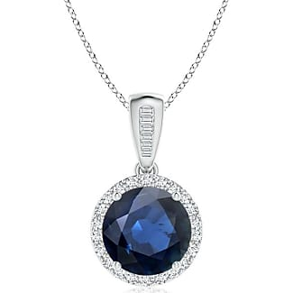 Angara Natural Sapphire and Diamond Halo Vintage Pendant in Platinum