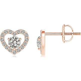 Angara Solitaire Diamond Open Heart Stud Earrings with Accents