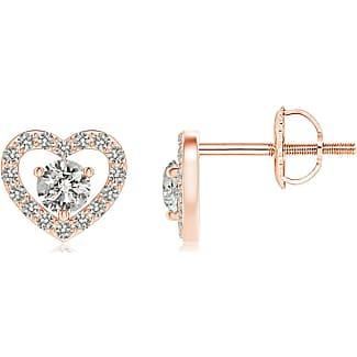 Angara Scattered Cluster Diamond Heart Halo Stud Earrings