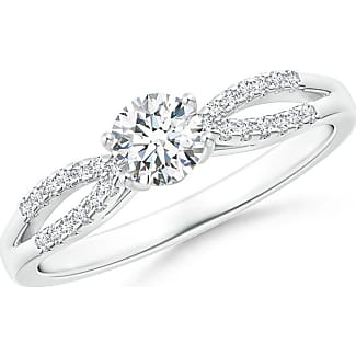 Angara Solitaire Diamond Split Shank Ring With Knotted Heart-Motif