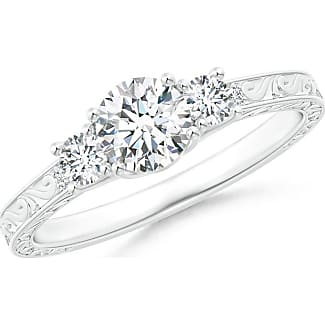 Angara Airline Set Three Stone Princess Moissanite Ring