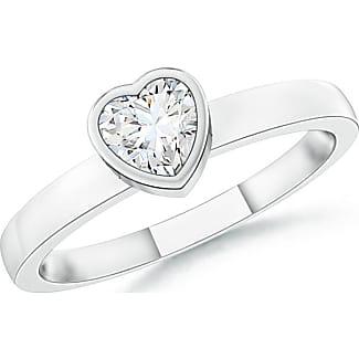 Angara Bezel-Set Solitaire Heart Peridot Promise Ring