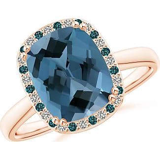 Angara Cushion Swiss Blue Topaz Cocktail Ring with Alternating Halo