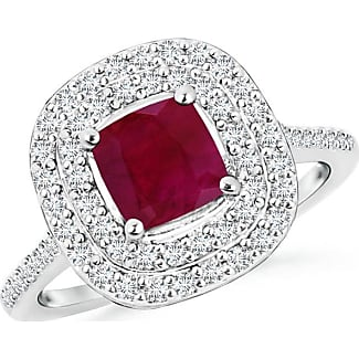 Angara Ruby and Diamond Halo Engagement Ring with Kite Motifs