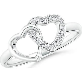 Angara Pave-Set Diamond Knotted Heart Ring