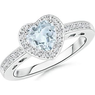 Angara Milgrain Petal Diamond Halo Engagement Ring