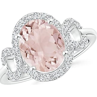 Angara Oval Morganite Scroll Engagement Ring with Diamond Halo