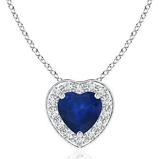 Angara Heart-Shaped Blue Sapphire Pendant with Diamond Halo