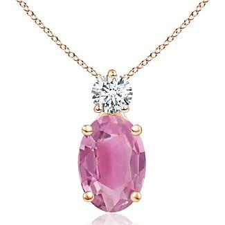 Angara Oval Pink Tourmaline Solitaire Pendant with Trio Diamond