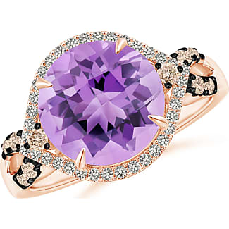Angara Trillion Amethyst Cocktail Ring with Diamond Accents