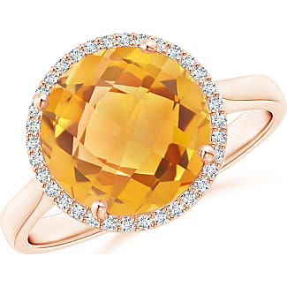 Angara Cushion Citrine Cocktail Ring with Alternating Halo