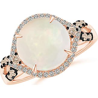 Angara Round Opal Cocktail Ring with Coffee Diamond Accents