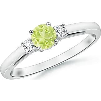 Angara Classic Solitaire Half Bezel Peridot Engagement Ring