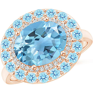 Angara Sideways Oval Swiss Blue Topaz Double Halo Cocktail Ring